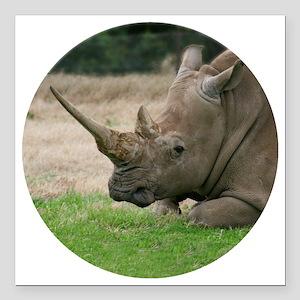 "Rhinoceros Photo with Hu Square Car Magnet 3"" x 3"""
