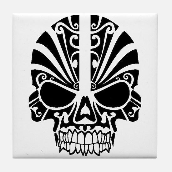 Skull Tattoo Tribal Tile Coaster