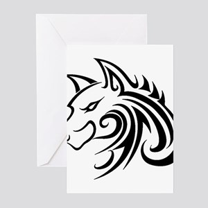 Wolf Tattoo Tribal Greeting Cards