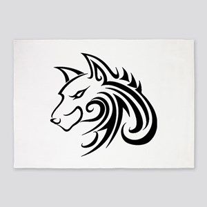 Wolf Tattoo Tribal 5'x7'Area Rug