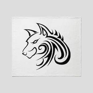 Wolf Tattoo Tribal Throw Blanket