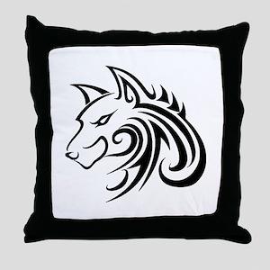 Wolf Tattoo Tribal Throw Pillow