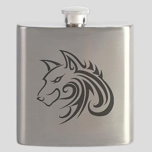 Wolf Tattoo Tribal Flask