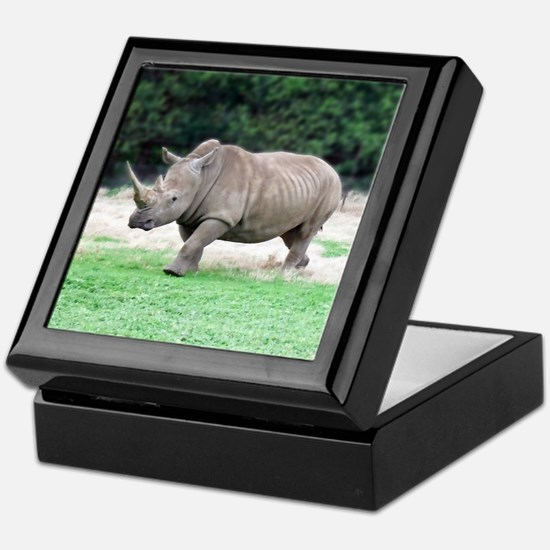 Rhinoceros with Huge Horn Keepsake Box
