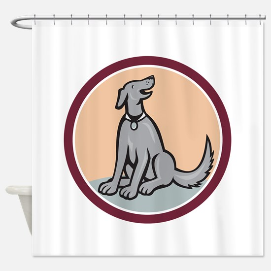 Dog Sitting Looking Up Cartoon Shower Curtain