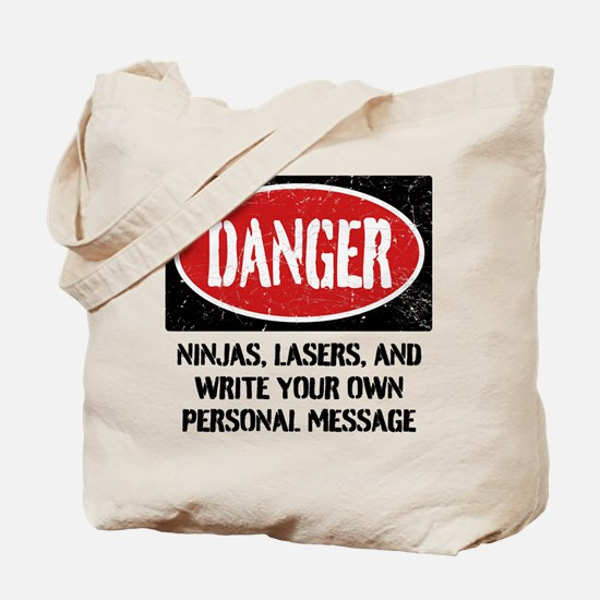Personalized Danger Sign Tote Bag