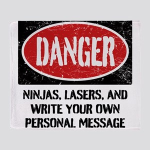 Personalized Danger Sign Throw Blanket