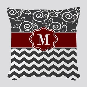 Gray Red Chevron Monogram Woven Throw Pillow