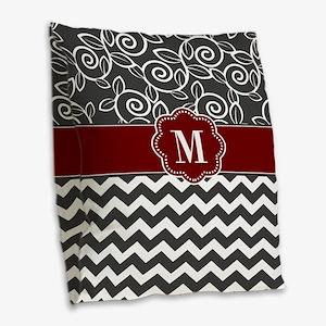 Gray Red Chevron Monogram Burlap Throw Pillow