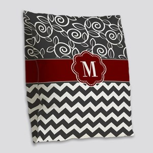 Gray Red Chevron Monogram Burlap Throw Pillow