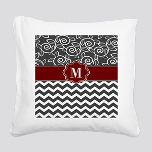 Gray Red Chevron Monogram Square Canvas Pillow
