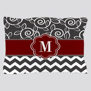 Gray Red Chevron Monogram Pillow Case