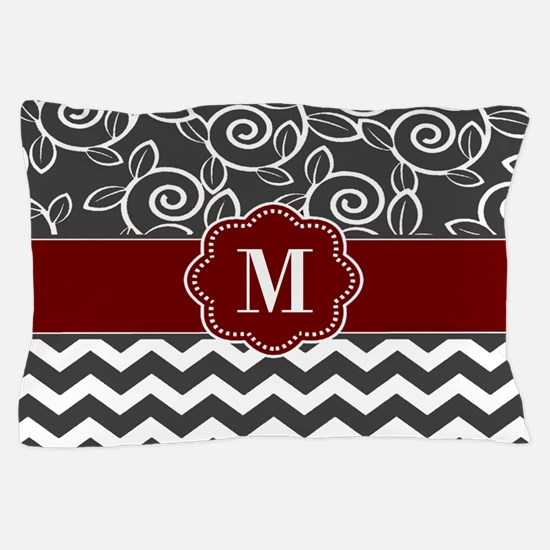 Gray Red Chevron Monogram Pillow Case