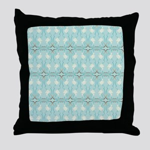 Soft Pastel Blue and Brown Damask Throw Pillow