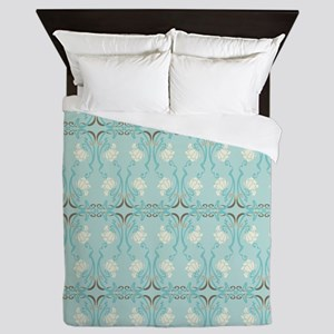 Soft Pastel Blue and Brown Damask Queen Duvet