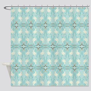 Soft Pastel Blue and Brown Damask Shower Curtain