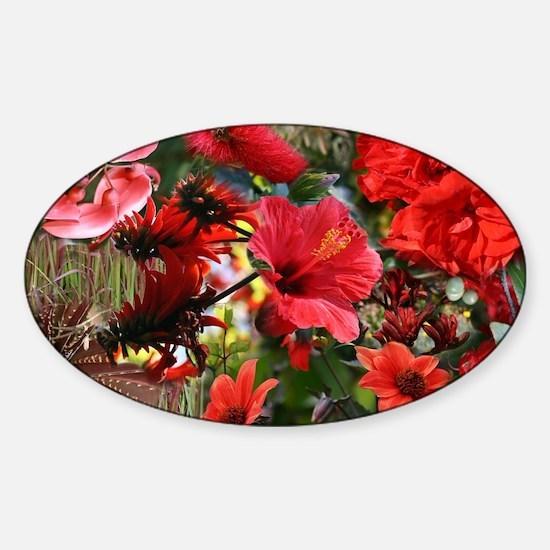 Red Australian Flower Bouquet Colla Sticker (Oval)