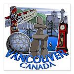 "Vancouver Canada Souveni Square Car Magnet 3"" x 3"""
