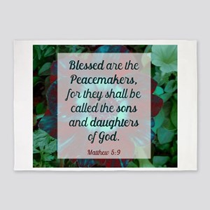 Blessed are the Peacemakers 5'x7'Area Rug