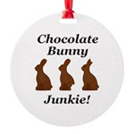 Chocolate Bunny Junkie Round Ornament