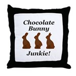 Chocolate Bunny Junkie Throw Pillow