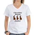 Chocolate Bunny Junkie Women's V-Neck T-Shirt