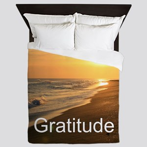 Gratitude Beach Sunset Mantra Queen Duvet