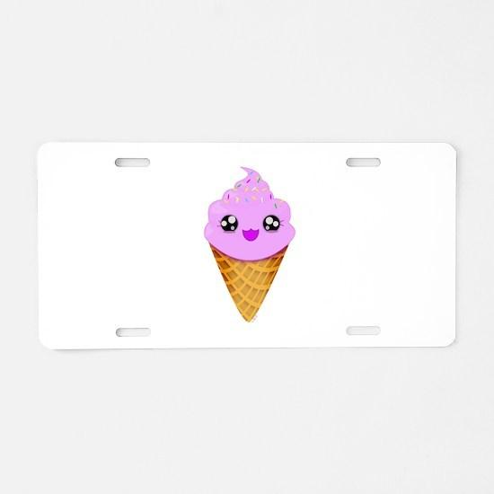Strawberry Kawaii Ice Cream Cone Aluminum License