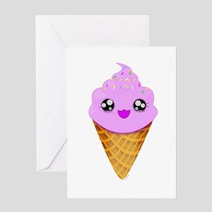 Strawberry Kawaii Ice Cream Cone Greeting Cards