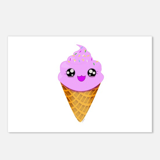 Strawberry Kawaii Ice Cream Cone Postcards (Packag