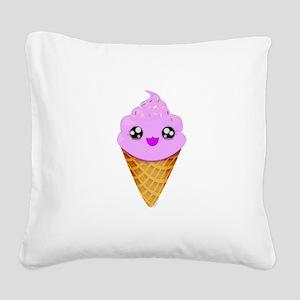 Strawberry Kawaii Ice Cream Cone Square Canvas Pil