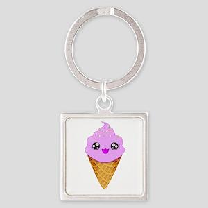 Strawberry Kawaii Ice Cream Cone Keychains