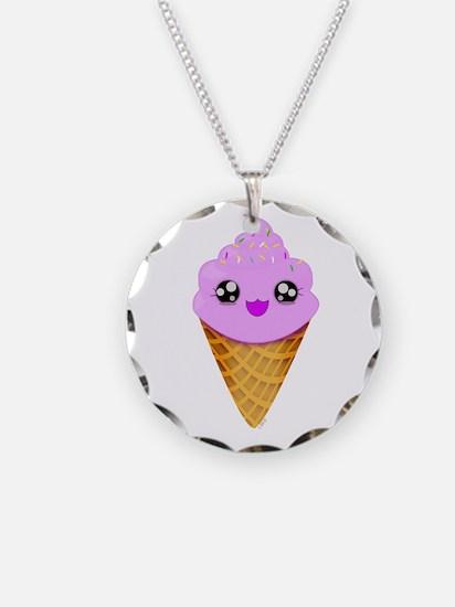 Strawberry Kawaii Ice Cream Cone Necklace