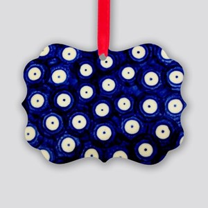 Polish Pottery Polka Dots Picture Ornament