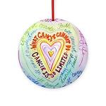 Rainbow Heart Cancer Ornament (Round)