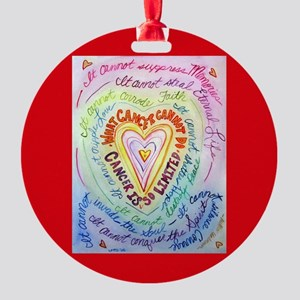Rainbow Heart Cancer Round Ornament