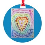 Rainbow Heart Cancer Round Ornament