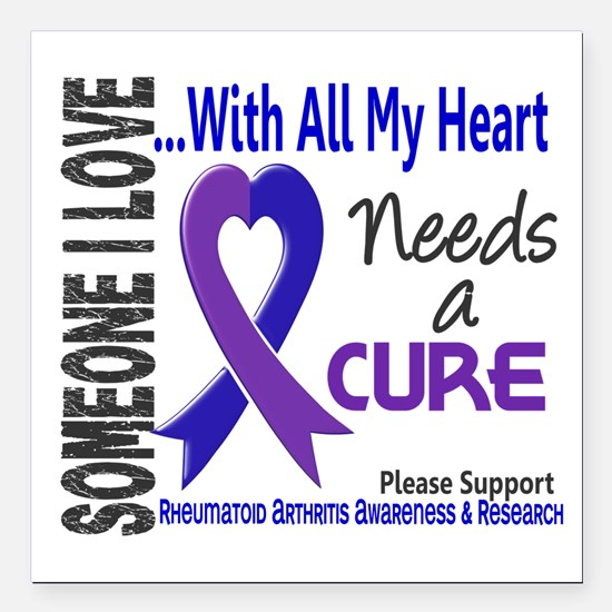 """RA Needs a Cure 3 Square Car Magnet 3"""" x 3"""""""