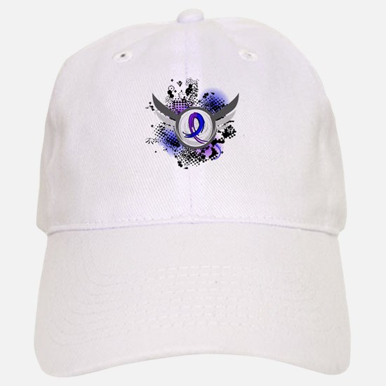 RA Grunge Ribbon Wings Baseball Baseball Cap