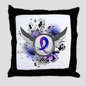 RA Grunge Ribbon Wings Throw Pillow