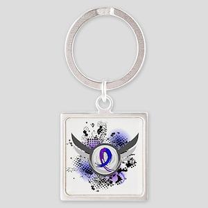 RA Grunge Ribbon Wings Square Keychain