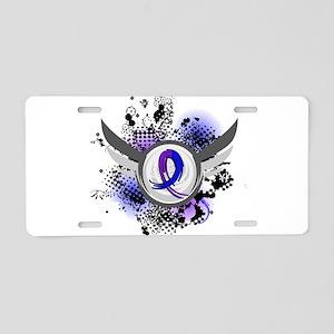 RA Grunge Ribbon Wings Aluminum License Plate