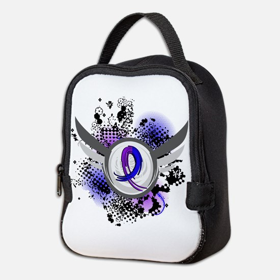 RA Grunge Ribbon Wings Neoprene Lunch Bag