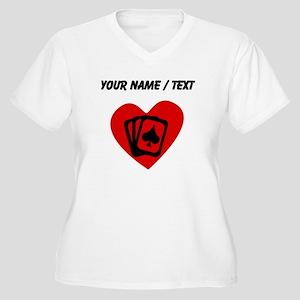 Custom Poker Heart Plus Size T-Shirt