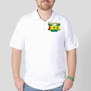 Sao Tome Principe Flag Ribbon Golf Shirt