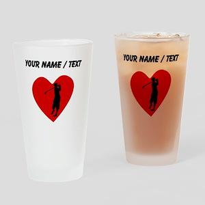 Custom Golfing Heart Drinking Glass