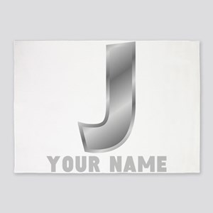 Custom Silver Letter J 5'x7'Area Rug
