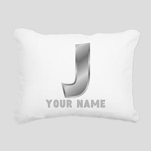 Custom Silver Letter J Rectangular Canvas Pillow