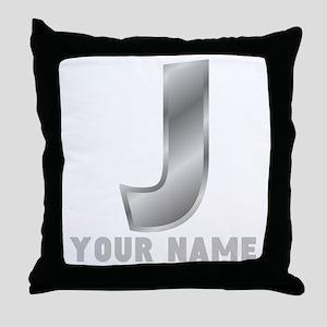 Custom Silver Letter J Throw Pillow