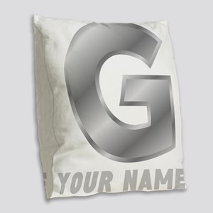 Custom Silver Letter G Burlap Throw Pillow
